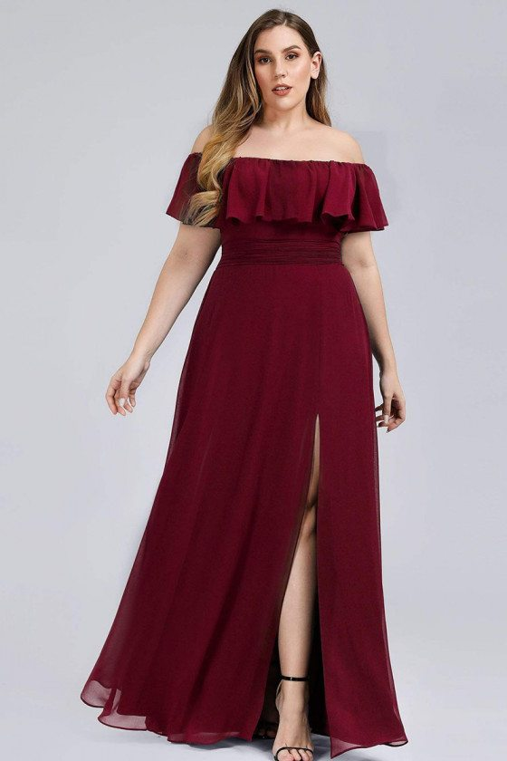 Burgundy Plus Size Off Shoulder Cheap Bridesmaid Dress With Ruffle Sleeves