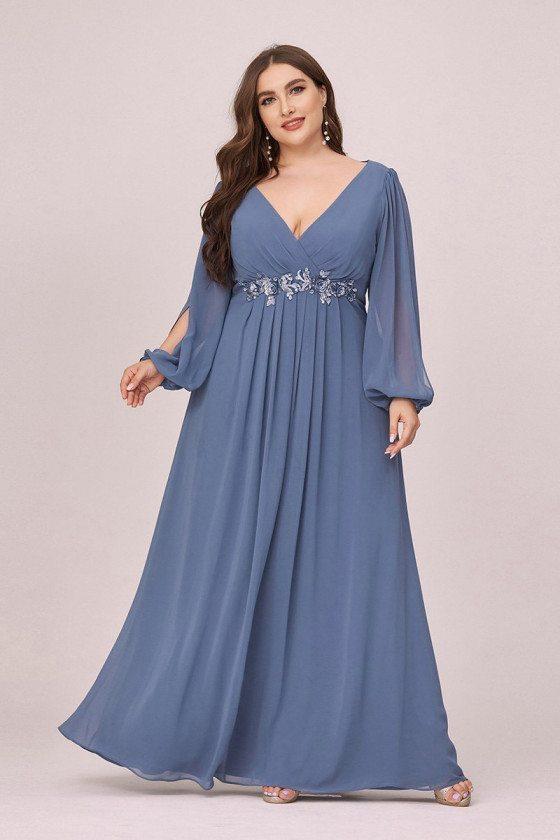 Plus Size Vneck Dusty Navy Chiffon Prom Dress With Long Lantern Sleeves