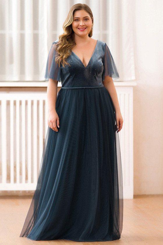 Deep Vneck Dusty Navy Long Tulle Plus Size Evening Dress
