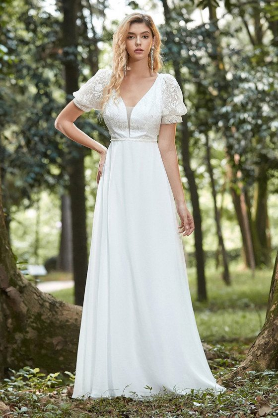 Vneck Aline White Casual Chiffon Wedding Dress With Short Sleeves