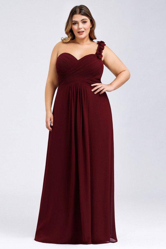Plus Size Chiffon Burgundy Long Bridesmaid Dress With One Shoulder