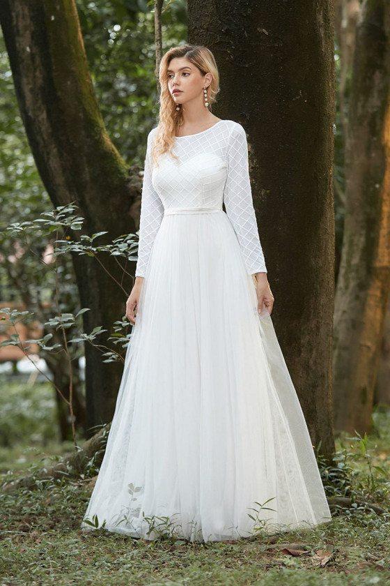 Cream White Round Neck Aline Wedding Dress With Long Sleeves