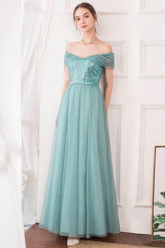 Dusty Blue Off Shouler Maxi Long Sequin Prom Dress With Sequins