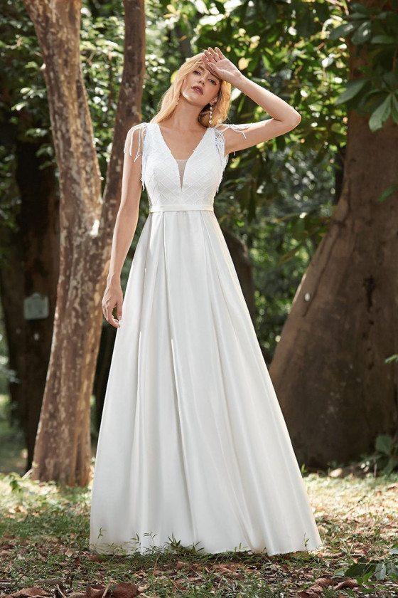 Simple Aline Vneck Satin Cheap Wedding Dress