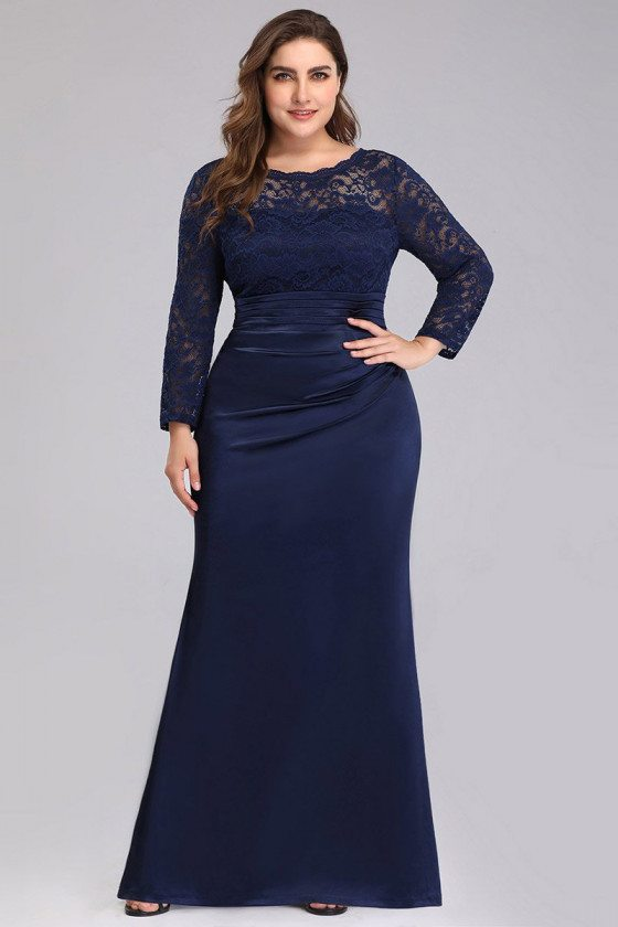 Plus Size Navy Blue Lace Long Sleeve Evening Dress