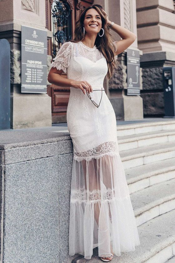 Romantic Aline Lace Mid Length Casual Wedding Dress With Short Sleeves