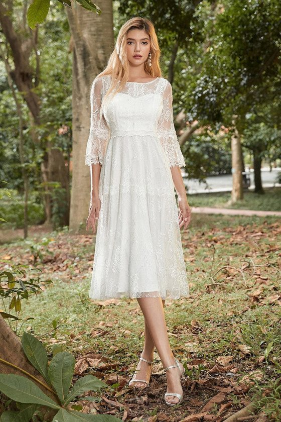 Retro Lace Knee Length Casual Wedding Dress With Lace Sleeves
