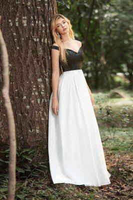 Black And White Satin Aline...