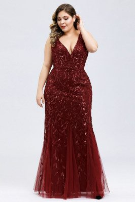 Burgundy Vneck Sequin...