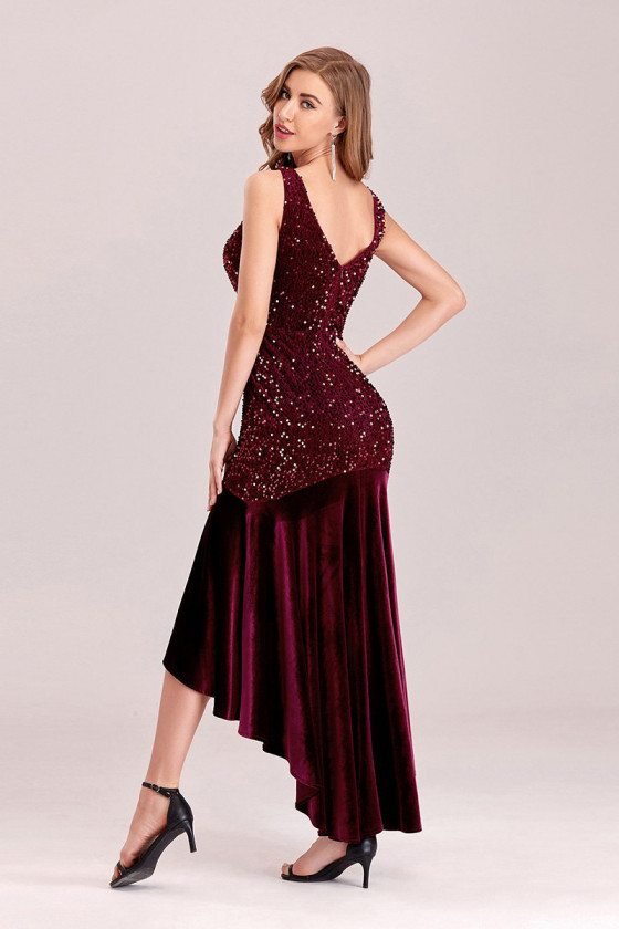 Burgundy Velvet Sequins High Low Evening Party Dress With Sequins