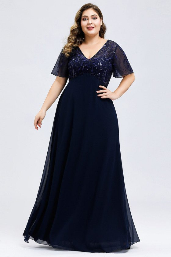 Plus Size Vneck Navy Blue Long Evening Dress With Sleeves