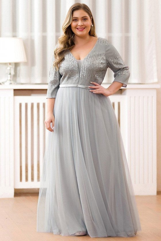 Modest Vneck Sequined Aline Long Evening Dress With Half Sleeves