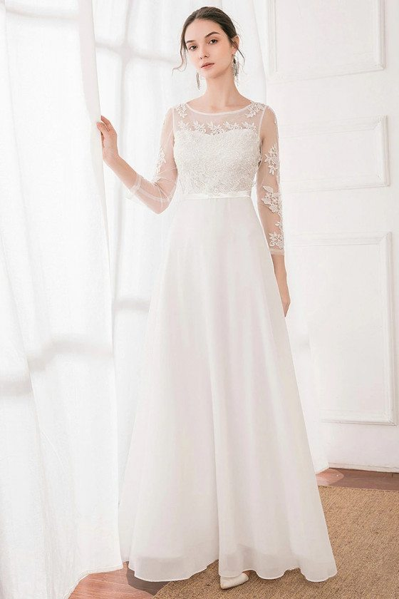 White Sheer Long Sleeves Aline Wedding Party Dress With Appliques