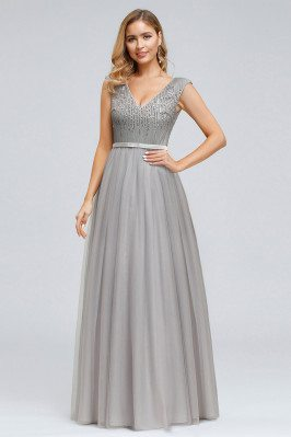 Grey Vneck Aline Long Prom...