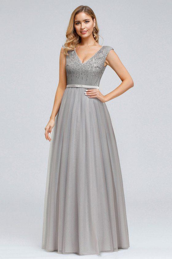 Grey Vneck Aline Long Prom Dress With Sequins