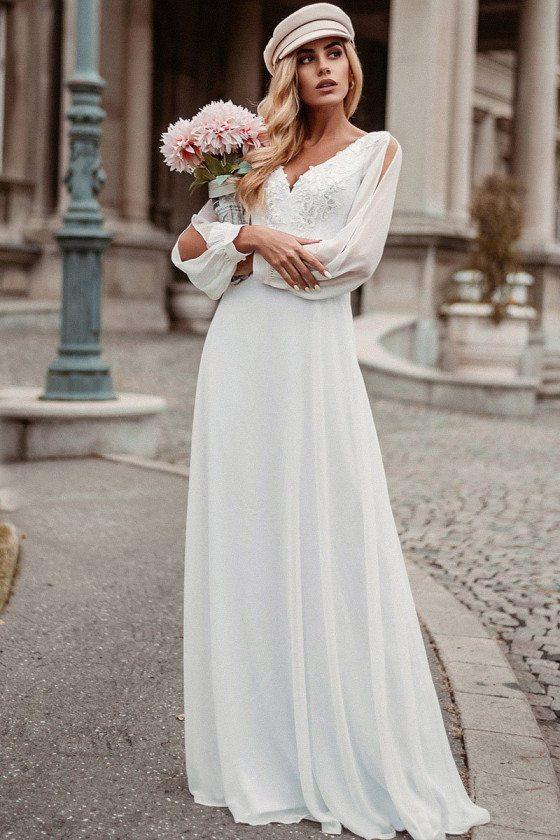 Aline White Chiffon Cheap Wedding Dress Vneck With Long Sleeves