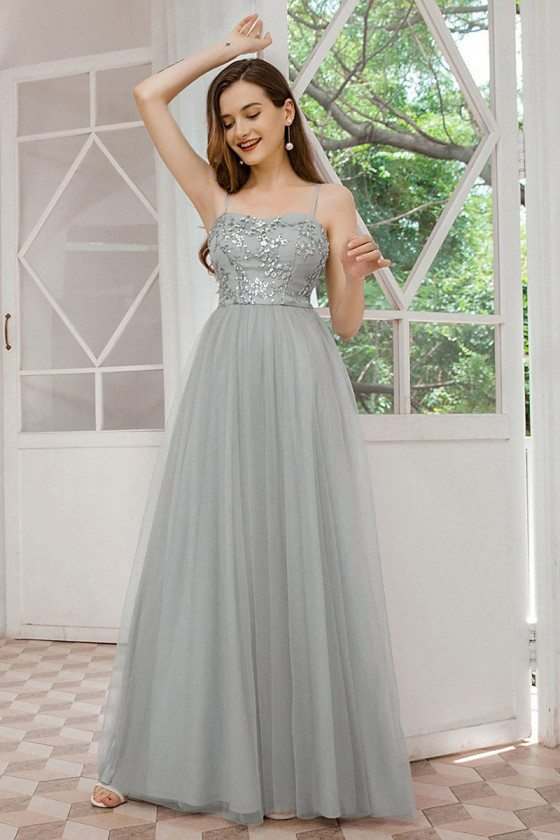 Romantic Grey Tulle Wedding Bridesmaid Dress With Sequins Straps