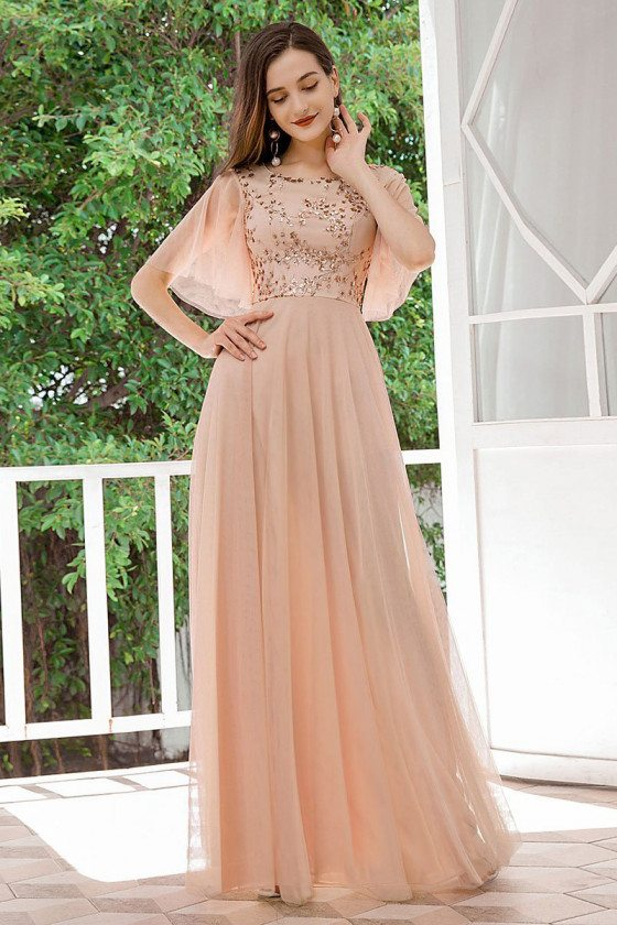 Blush Pink Aline Cheap Bridesmaid Dress With Puffy Sleeves