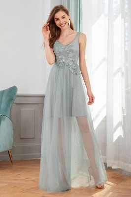 Grey See Through Tulle...