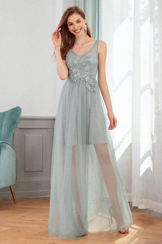Grey See Through Tulle Vneck Wedding Guest Dress With Appliques