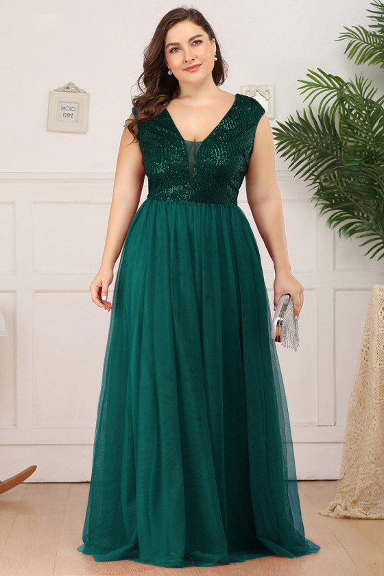 Plus Size Vneck Green Tulle Evening Prom Dress With Sequins