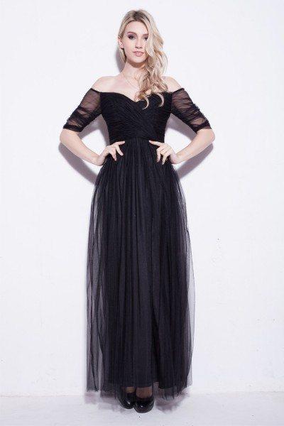 Simple Off Shoulder Long Tulle Prom Dress