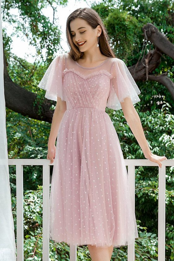 Cute Dotted Mauve Tulle Homecoming Party Dress With Puffy Sleeves