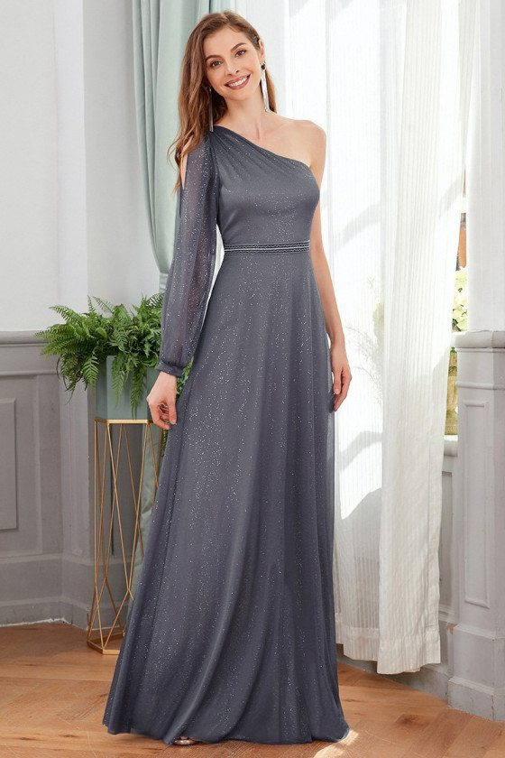 Goddess One Long Sleeved Grey Formal Dress With Bling