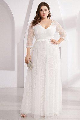 Plus Size White Lace Vneck...