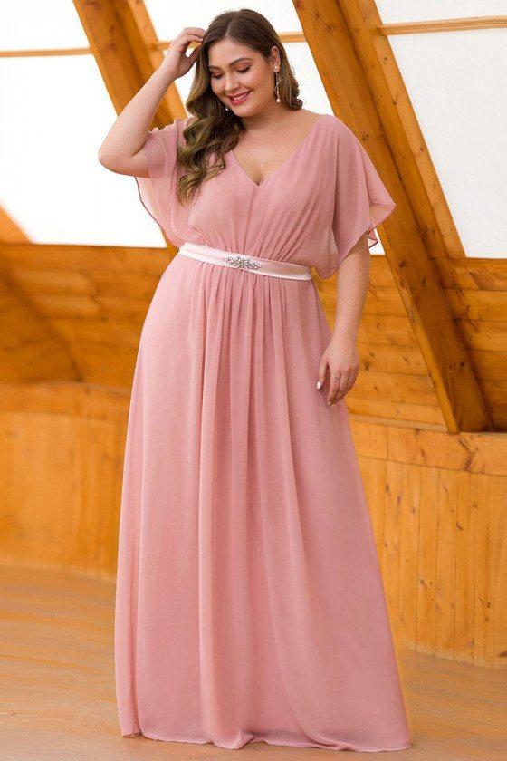 Mauve Plus Size Elegant Chiffon Formal Dress With Ruffle Sleeves