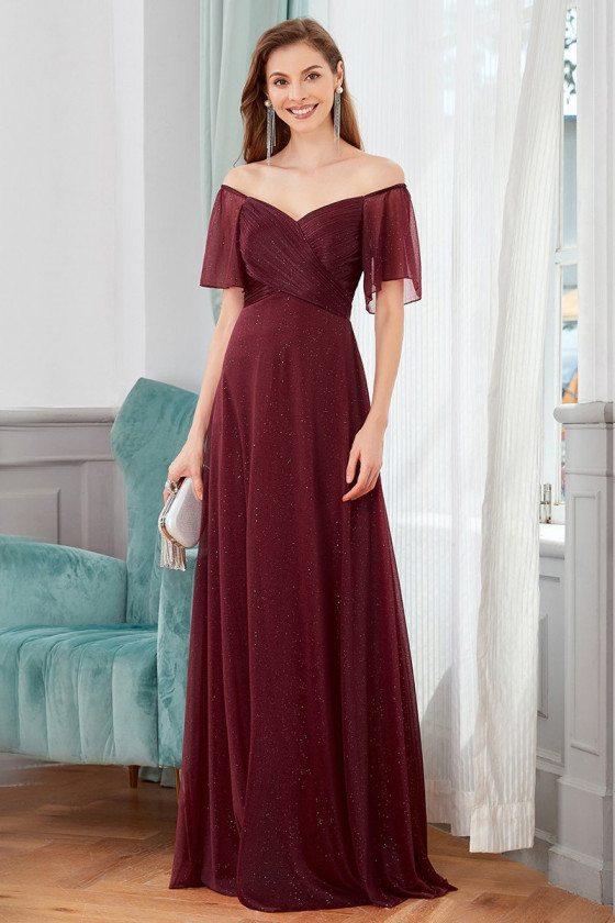 Elegant Burgund Pleated Evening Dress With Off Shoulder Sleeves