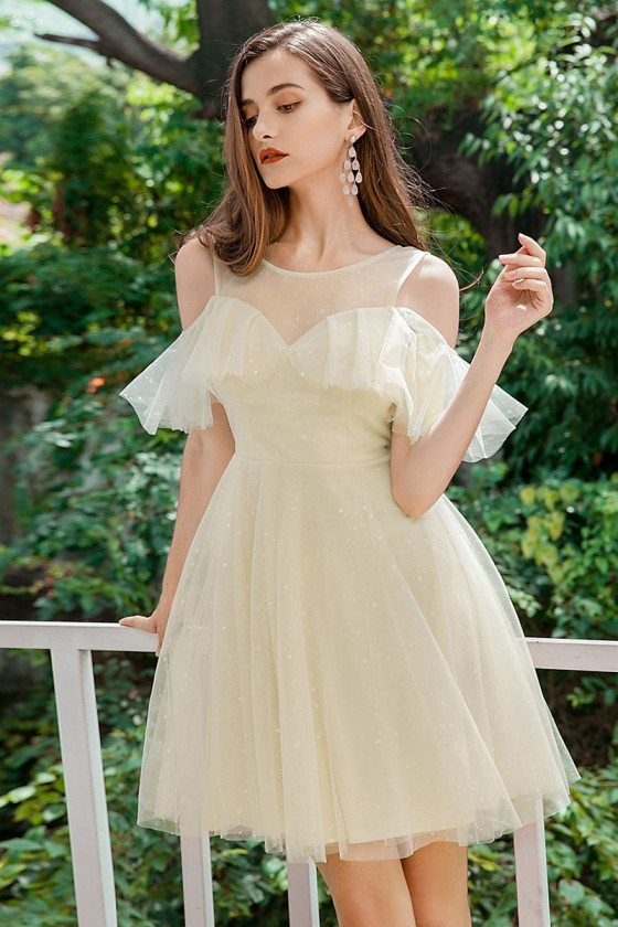 Cute Short Yellow Tulle Homecoming Party Dress With Cold Shoulder