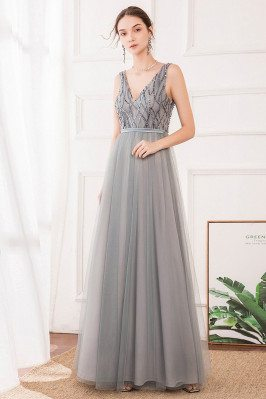 Grey Vneck Long Tulle Prom...
