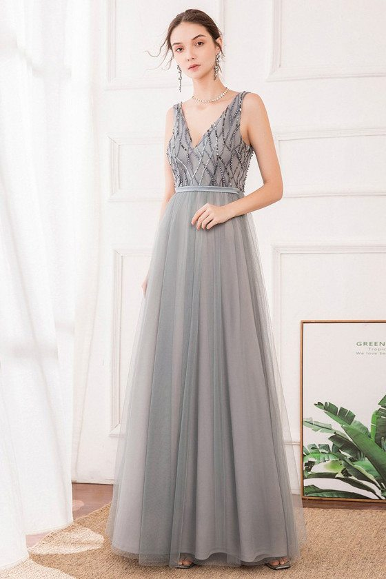 Grey Vneck Long Tulle Prom Dress With Sequins For Teens