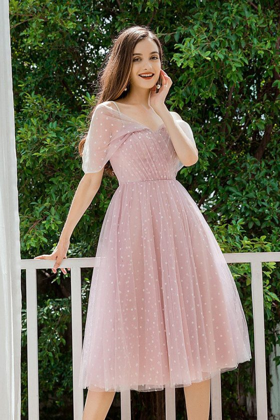 Pretty Mauve Dotted Homecoming Dress For Teens
