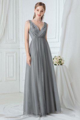 Grey Vneck Elegant Long...