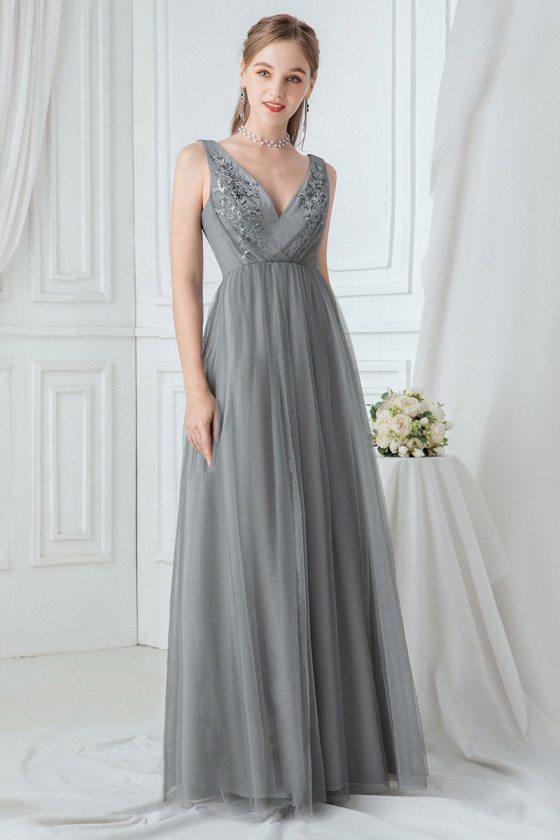 Grey Vneck Elegant Long Prom Dress With Appliques