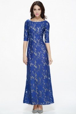 Organza Embroidery Half Sleeve Long Dress