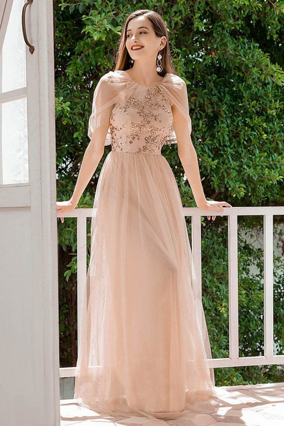 Blush Aline Tulle Long Bridesmaid Dress With Paillette