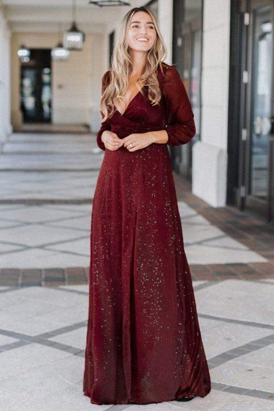 Burgundy Vneck Aline Shinny Evening Dress With Sleeves