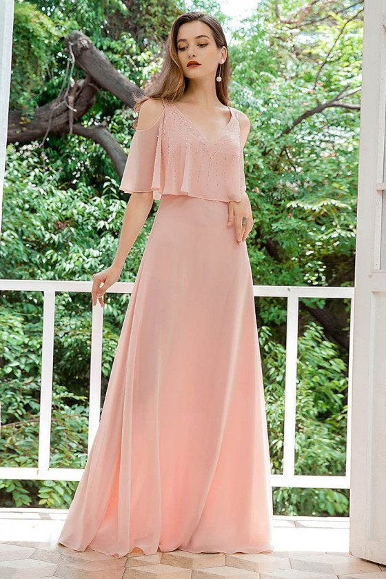 Pink Vneck Chiffon Bridesmaid Dress With Ruffles Sleeves