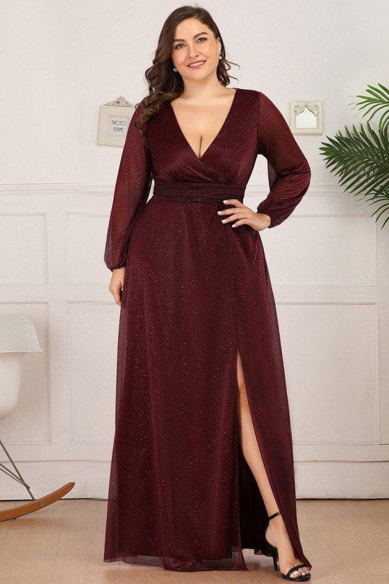 Plus Size Burgundy Vneck Formal Dress With Long Sleeves Side Split
