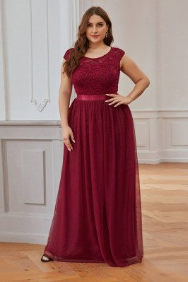 Plus Size Burgundy Modest...