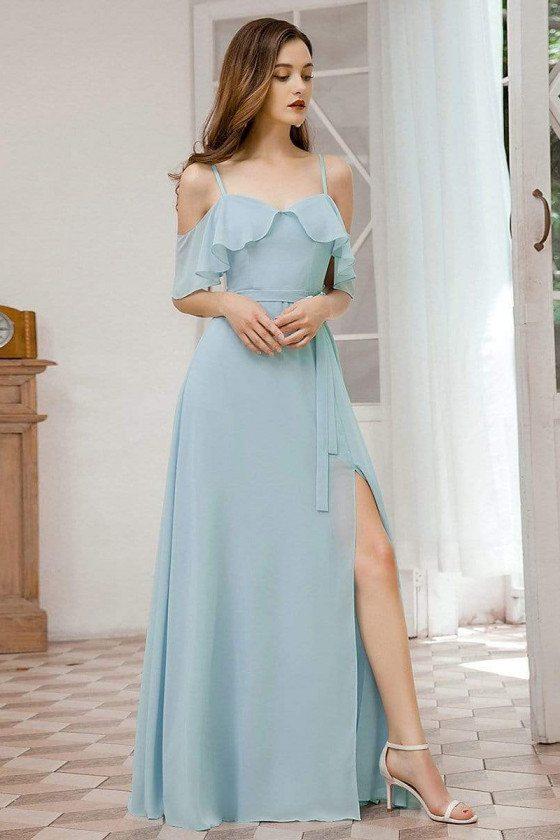 Sky Blue Chiffon Gorgeous Bridesmaid Dress With Split