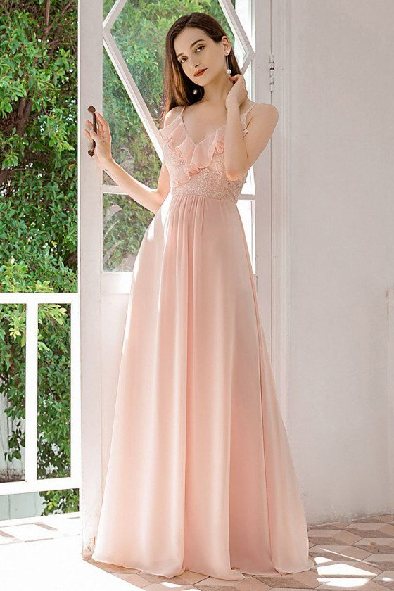 Pink Vneck Chiffon Bridesmaid Dress With Spaghetti Straps