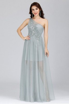 Grey Tulle One Shoulder See...