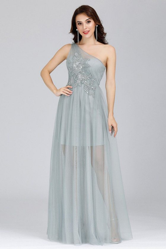 Grey Tulle One Shoulder See Through Wedding Party Dress With Appliques