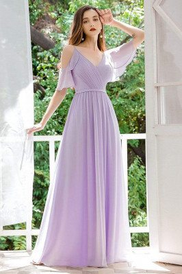 Pleated Lavender Chiffon...
