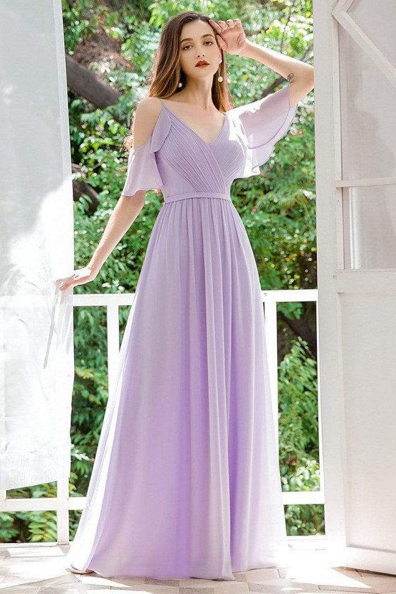 Pleated Lavender Chiffon Bridesmaid Dress With Ruffles Sleeves