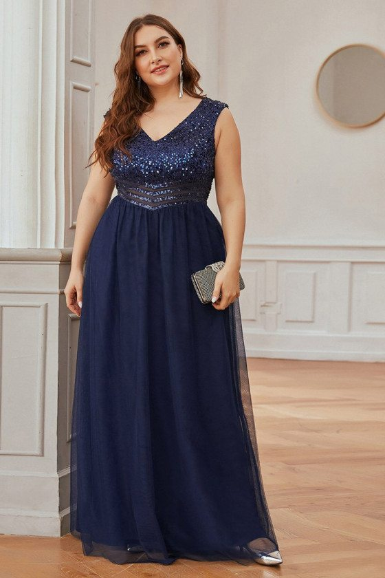 Navy Blue Plus Size Vneck Evening Dress With Sequins
